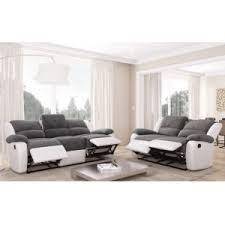 canape cuir blanc et gris usinestreet ensemble de canapés relaxation 3 places et 2 places