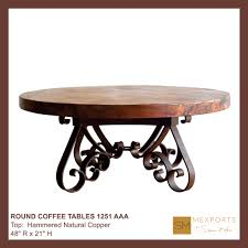 090 round coffee table iron base chocolate finish copper natural