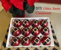 diy glitter santa ornaments