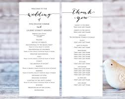 template for wedding program wedding program templates wedding templates and printables