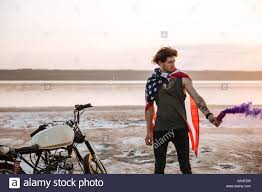 Flag Cape Young Brutal Man Wearing American Flag Cape Holding Smoke Bomb At