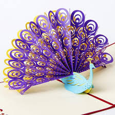 3d pop up greeting card peacock birthday easter anniversary