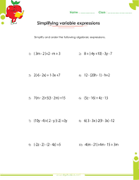 free printable math worksheets variables expressions algebraic expressions worksheets 9th grade worksheets for all