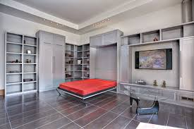silver polished metal murphy bed with wall tv stand and bookcase