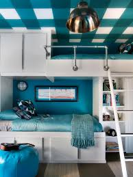 Silver Blue Bedroom Design Ideas Floating Blue Wooden Shelves Connected With Silver Steel Poles