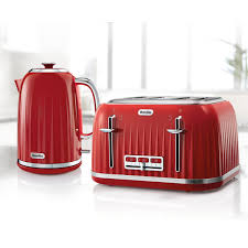 breville impressions collection red kettle and toaster set