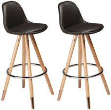 Leather Bar Chair Buy Orso Black Leather Bar Stool With Copper Cap Oak Legs Pair