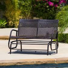 Outdoor Glider Chair Burbank Outdoor Brown Wicker Glider Bench Great Deal Furniture