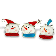 stained glass snowman ornament available in various designs