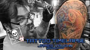 tattoo time lapse james vaughn tattoos color coy fish youtube