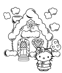 kitty christmas christmas house coloring pages sewing