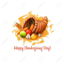 happy thanksgiving day banner illustration with horn of
