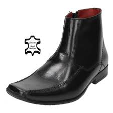 red tape mens real leather ankle zip up boots square toe chelsea