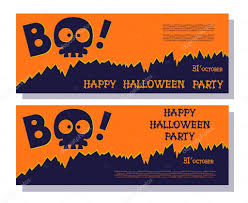 funny holiday banner title boo from skull skeleton and happy