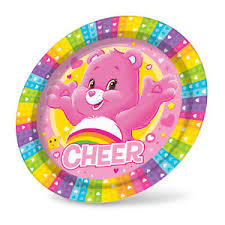 care bears cheer bear rainbow hearts pink paper party plates