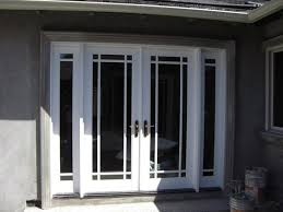 french doors with sidelights and blinds between glasses latest