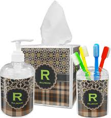Sports Bathroom Accessories by Moroccan Mosaic U0026 Plaid Bathroom Accessories Set Personalized