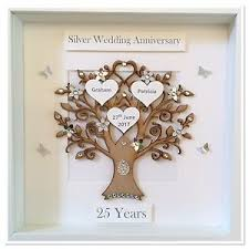 silver anniversary gifts personalised family tree 3d box frame keepsake silver wedding