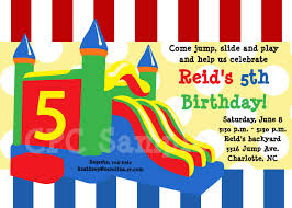 trampoline invitations bounce castle birthday party invitations printable or