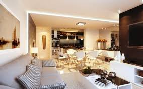 open plan studio apartment design within modern open living room