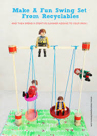 miniature swing set recycling craft for playmobil people kids
