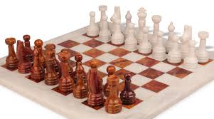 classic white onyx u0026 red marble chess set with 16