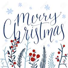 merry christmas modern merry christmas text and hand drawn winter branches with red