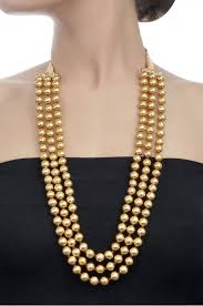 round bead necklace images Silver gold plated three layer round bead necklace dagine jpg