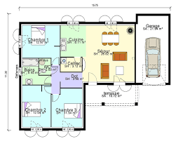 plan maison simple 3 chambres plan maison contemporaine plain pied en l 3 chambres et garage