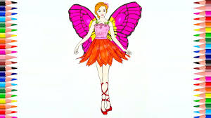 learn to color barbie fairy coloring pages for kids learning