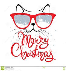 christmas card cat in glasses stock vector image 74019678