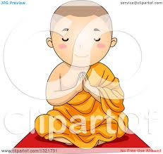 clipart of a buddhist boy sitting and praying royalty free