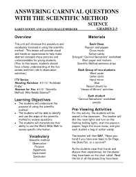 answering carnival questions with the scientific method 2nd 3rd