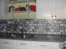 interior design inspiring brick backsplash with gray marble