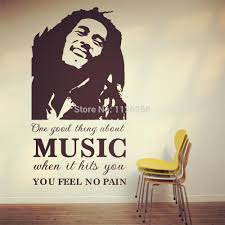 the world famous pop stars bob marley art decal wall stickers the world famous pop stars bob marley art decal wall stickers quotes one good thing about music when it hits you fell no pain wall stickers for girls wall
