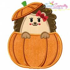 hedgehog peeking pumpkin applique embroidery design for thanksgiving