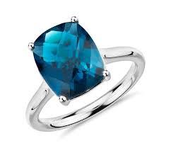 london blue topaz engagement ring london blue topaz cushion cocktail ring in 14k white gold 11x9mm