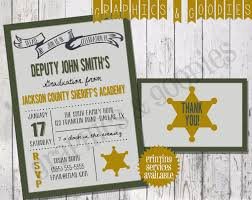 academy graduation invitations sheriff academy graduation invitation w matching thank you