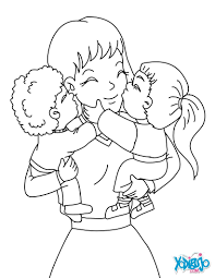 mom with her children coloring pages hellokids com