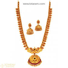 temple design gold earrings 22k gold temple jewellery necklace sets indian gold jewelry from