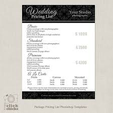 wedding photographers prices photography package pricing list template wedding photography