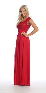 red lace bodice a line long semi formal dress queen anne neckline