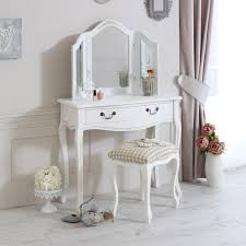 white wooden painted dressing table mirror stool full set console