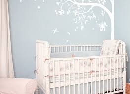 White Tree Wall Decal For Nursery Hanging Vines Wall Decal For Baby Nursery With Flowers Wall