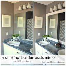 Frame Bathroom Mirror How To Frame Out That Builder Basic Bathroom Mirror For 20 Or Less