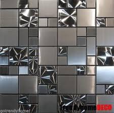 kitchen backsplash mosaic tile 1sf stainless steel brushed nickel pattern mosaic tile kitchen