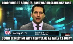 Nfl Bandwagon Memes - according to sources bandwagon seahawks fans adam schefter espn nfl