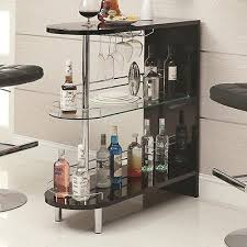 contemporary black home bar pub table wine rack mini liquor