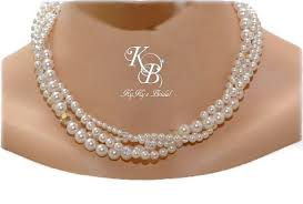 personalized wedding jewelry multi strand pearl necklace pearl wedding necklace pearl wedding