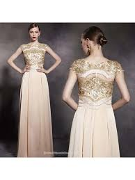 wedding evening dress gold sequin lace top floor length evening gown chagne bateau